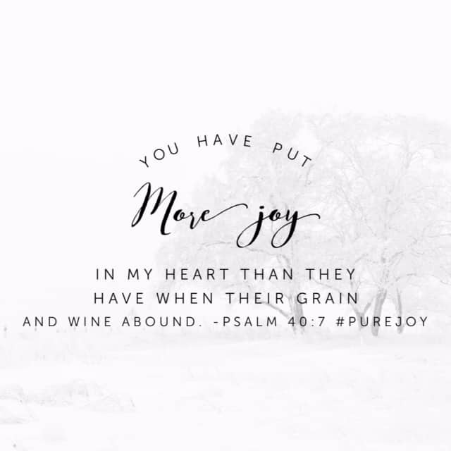 It's a wonderful thing to celebrate when life sees success. Think of your happiest, fullest moment and Jesus brings more joy than even that. Praise him for being the ever-listening God who provides light and joy! #purejoy#biblereading #biblereadingplan