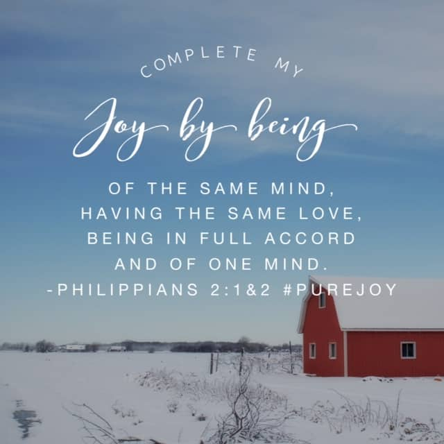 Paul wrote to the Philippians church in our #purejoy#biblereadingplan passage today. Essentially he said that there is enough strife in the world without Christians adding to it. We should have unified hearts with one another in Christ. Does it mean we will always see eye to eye on every issue? Absolutely not. But we should not support sin and we should completely show love. Agree to disagree and treat one another with respect. The #purejoy #journaling question for each day this month has been: What will I do today to live joyfully because I know joy lives in me? I plan to make sure folks know how much I love them- enough to disagree respectfully. How about you?