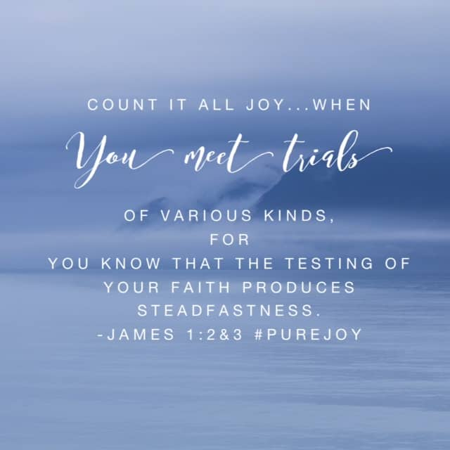 "There's no ""if"" in this verse. We don't get to count it all joy ""if"" we meet trials. No, it's ""when."" We all know trials. Whether you just finished the course of a trial, you are smackdab in the middle of one or you see one on the horizon. But it is possible to anticipate, obtain and embrace joy during trials because we know our Father only wants the best for us. The persevering character he is building is the greater gift. How do I know? When the Lord puts it on your heart to share a #purejoy#biblereadingplan and #journal while you're watching your sweet girl slowly slide down into the valley of death, then the truth of God's Word grips you like never before. Just the ability to keep going #onemorestep is #purejoy ! So what will we do today to live joyfully because we know that joy lives in us? Have a super Saturday!"