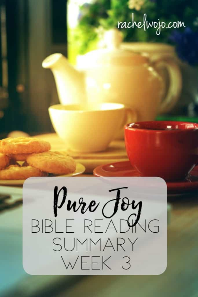 Friday is here and I can hardly believe it! God has graciously blessed my heart with the Pure Joy Bible reading plan this week and I've enjoyed journaling through the book for this month's Bible reading challenge. I pray the results have been just as tangible in your life as they have been in mine! Check out the summary for this week.