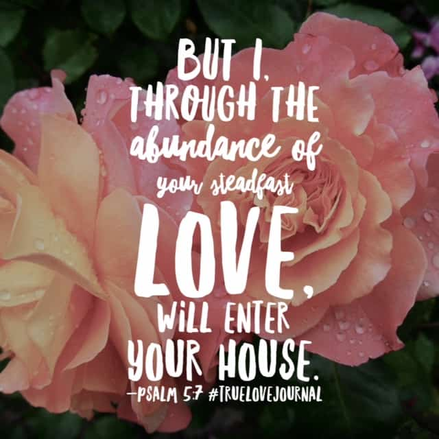 "The psalmist counted it a privilege to walk through the temple gate because he knew the abundant love of God is how he got there. There's a quote that says ""if God brings you to it, he will see you through it."" I think I would add ""by the abundance of his steadfast love,"" as the psalmist did in the #truelovejournal#biblereadingplan passage today. Whatever Monday holds, his love will see you to it and through it! Have a great day! #biblereading"