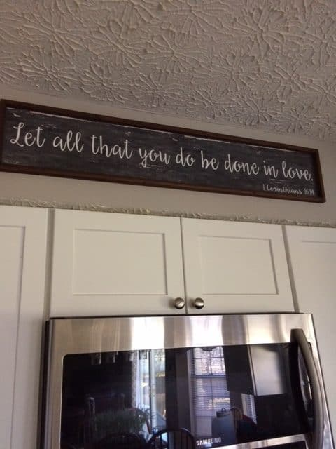 It's my daily reminder. Hanging in the kitchen where I spend a lot of time in service. Where trash needs emptied and the dishes need washed and the floor needs swept. Again. Loving God and others wasn't a sidebar for Jesus; it was the main thing. In fact, that is all. #truelovejournal#biblereadingplan #practicemakesperfect