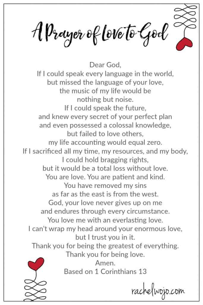 a prayer of love to god