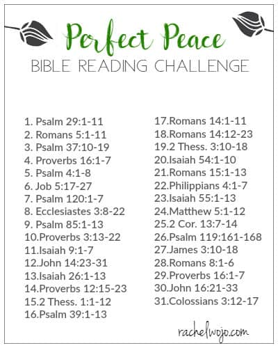 Perfect Peace Bible Reading Plan and Journal Challenge ...
