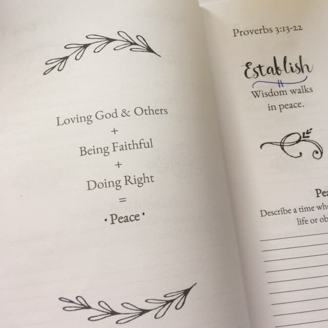 Wisdom walks in peace. Each choice, each decision of the day, each attitude and spirit behind the decisions and choices. I love that the Bible makes it simple and clear. Funny how complicated I can make it! #perfectpeacejournal