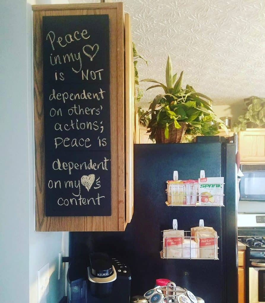 Such a fun coffee bar display! A friend posted her inspirational quote for the week and it came from the #perfectpeacejournal . Love the chalkboard on the end of the cabinet! So creative!