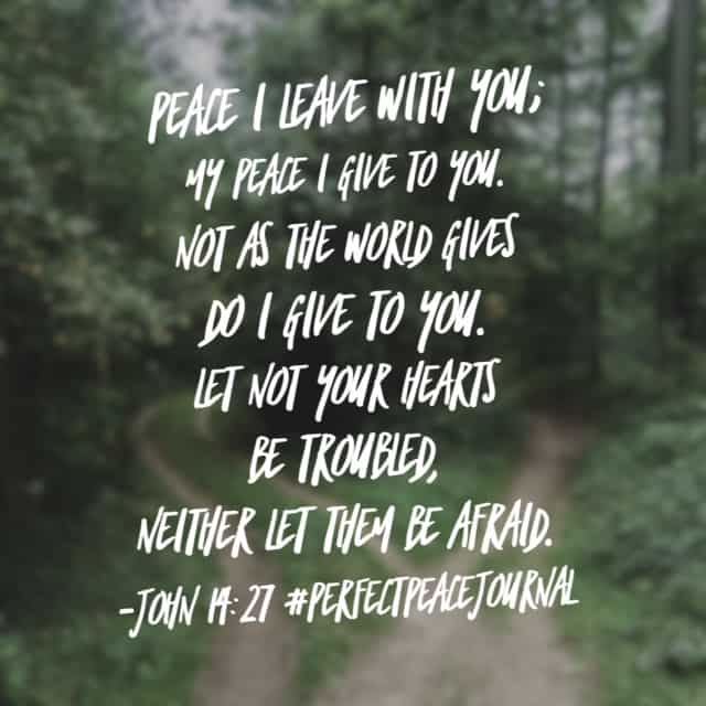 "His peace. There is a form of ""peace"" the world can offer. But it is oh so temporary and unfulfilling. Thank you, Jesus, for everlasting, completing peace. May we experience it today. Amen. #perfectpeacejournal #biblereading#biblereadingplan"