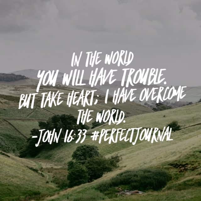 Take heart. That issue at your work? He's got it. The bill you need to find money to pay? He's got it. A relationship gone wrong? He'll mend it. The mistake you made yesterday? Forgotten. The addiction no one knows about? He heals. You've got this because take heart, He has overcome the world! #perfectpeacejournal #biblereadingplan#biblereadi