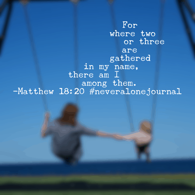 He is with us. Whether you attend church at a megachurch today, a small chapel on a hill, watch online services, or worship at home with your pets, he promises his presence to those who seek him. So very thankful! Happy Sunday! #neveralonejournal #biblereadingplan #biblereading