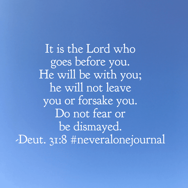 Not only is he with you, he goes before you. That fact is such a comfort! Have a super Saturday knowing God will never leave you alone! #biblereadingplan #neveralonejournal #biblereading