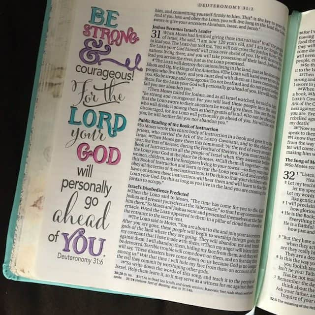 An afternoon truth boost for you! My girlies wanted to color yesterday evening, so I chose a verse from the #neveralonejournal #biblereading plan and this page is what the Inspire Bible offers. Whatever is before you, God is already ahead of you!! Hope you're having a marvelous Monday! #biblejournaling #inspirebible