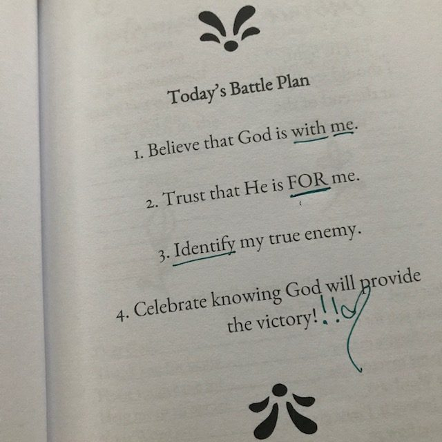 I don't know how your morning began. Mine was a little wonky and this battle plan from the #neveralonejournal was the perfect reset button! #keepgoing #onemorestep #yougotthis #biblereadingplan #biblereading