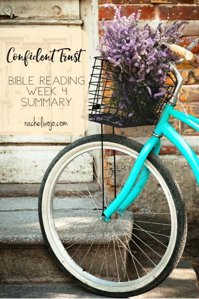 We've completed another month of Bible reading! Can you believe it? I think the Confident Trust: believing God's plan is best is one of my favorites. Let's review the last week and few days of Scripture for the Confident Trust Bible reading week 4 summary. You with me?