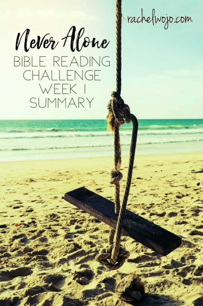 When was the last time you opened your Bible to read what God wants to whisper to your heart? I love how he keeps affirming my spirit through the Scripture this month! Welcome to the Never Alone Bible reading challenge week 1 summary! Let's take a glance back at last week's Bible reading, ready?