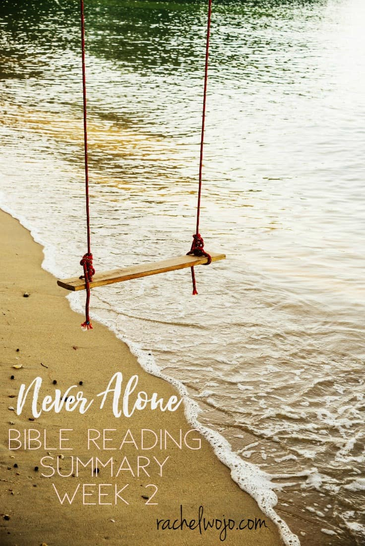 This month is flying crazy fast! I'm so thankful that the Never Alone Bible reading challenge has kept me spiritually grounded this month. On the days I've felt weak or inadequate, the Spirit spoke to my heart through God's Word and I discovered another way to remember that I am not alone. I'm really loving this month of Bible reading and so thankful to share it with you. Let's check out the Never Alone Bible Reading Summary Week 2!