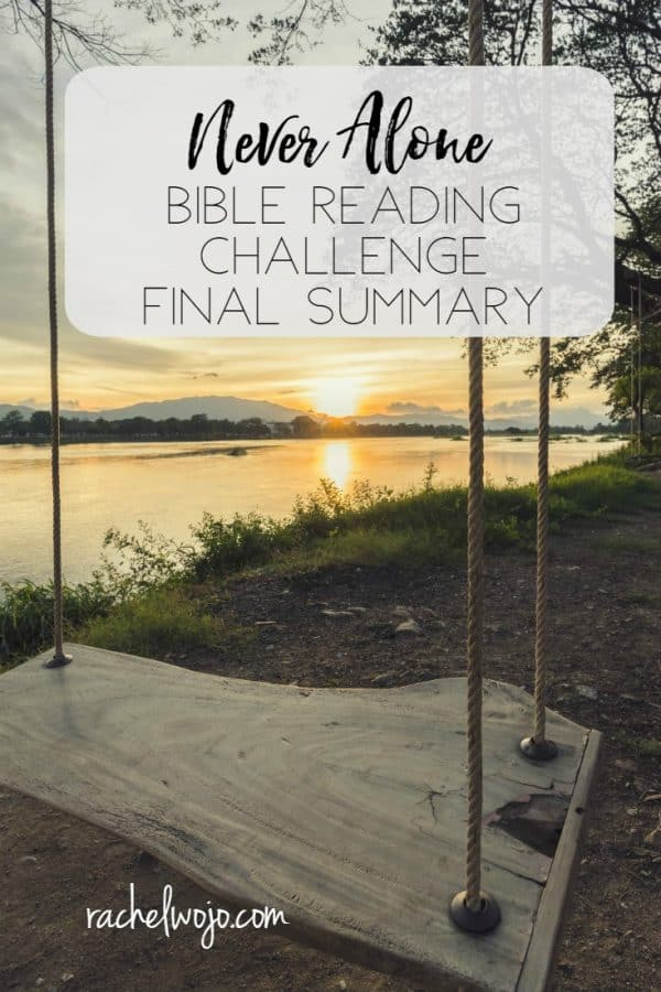 Never Alone Bible Reading Challenge Final Summary