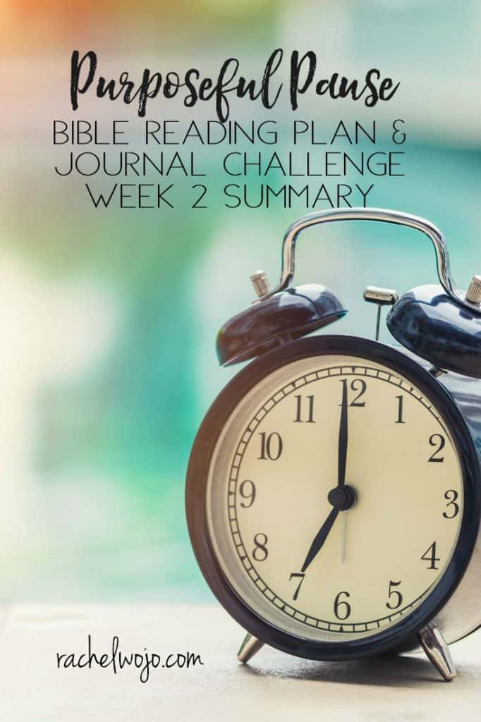 Welcome to the Purposeful Pause Bible reading challenge week 2 summary! I'm glad you arrived here so we can glance back over last week's reading in the monthly Bible reading plan & journal challenge. Have you discovered purpose in God's pauses throughout your life? I surely have! I've been taking extra time to reflect on the periods of waiting over the course of my life, as well as the daily moments he provides. My perspective on God's timing is growing and changing and this is a good thing!! I pray your experience through this Bible reading challenge is both motivating and reassuring. Let's take a look over last week's reading. Ready?