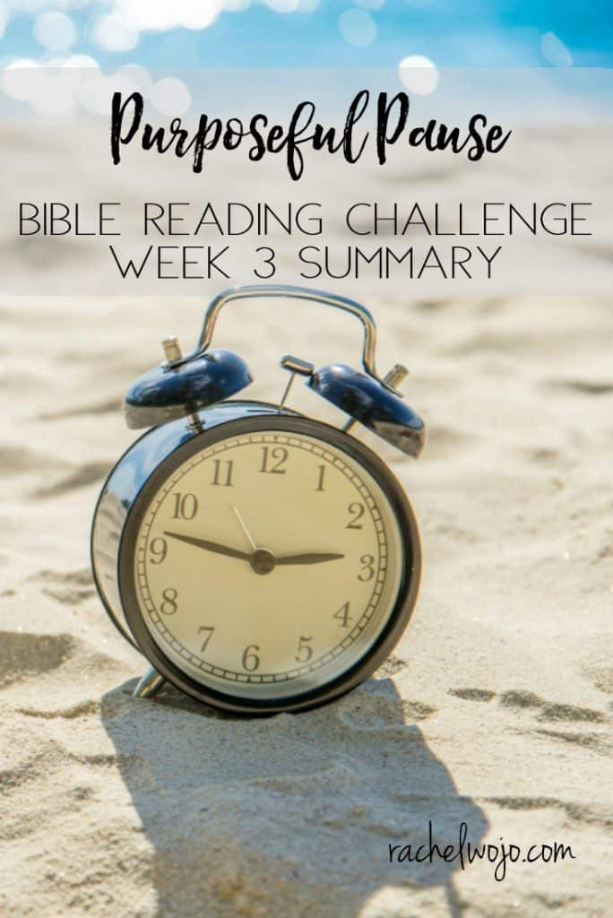 Welcome to the Purposeful Pause Bible Reading Challenge Week 3 Summary! Wow, as usual, each month, time flies as we walk through the Bible reading plan. While I've worked on slowing down and listening to the Lord each day, being intentional in my perspective on God's waiting room is a challenge for me! You too, maybe? Looking back on the week always helps me remained focused on how God is speaking to me through his word. Let's glance back at week 3. Ready?