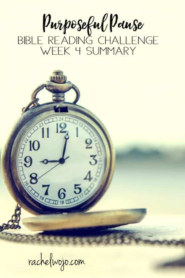 Purposeful Pause Bible Reading Challenge Week 4 Summary