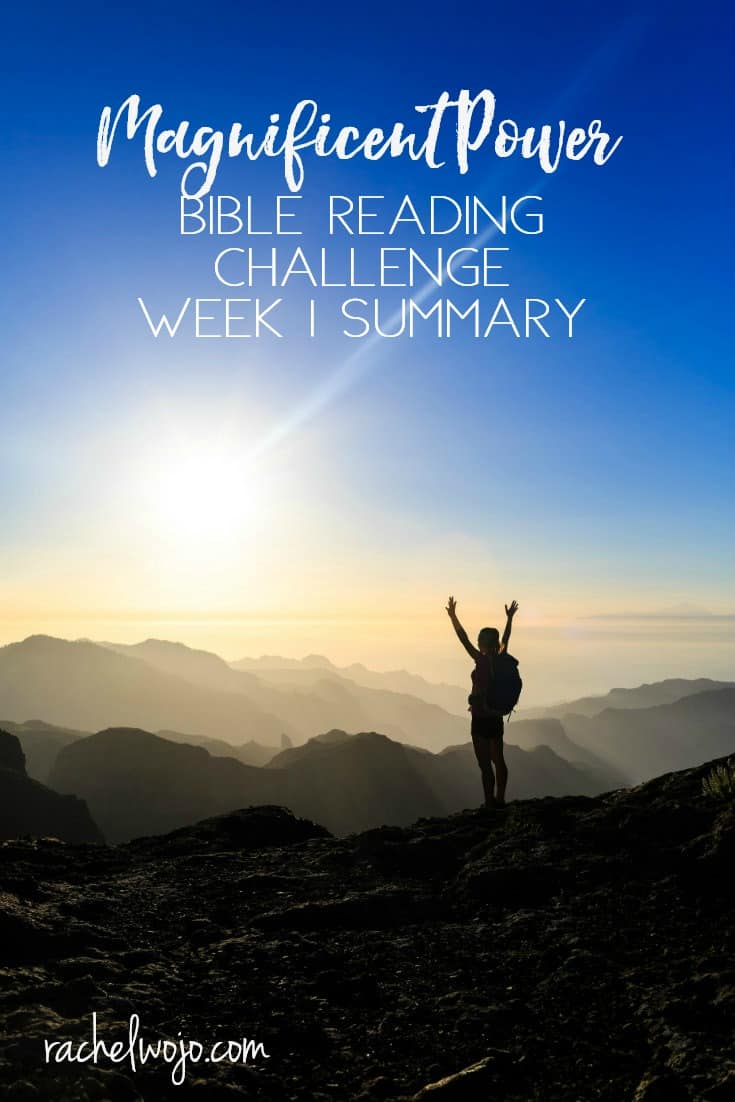 Friday is here and can you believe we have already completed a week of this month's Bible reading plan? Wow! The Magnificent Power Bible Reading Challenge Week 1 Summary is certainly one I have enjoyed reviewing. As I was writing today, I was thinking about how incredible God's Word is. It's alive and active through his spirit, speaking to our hearts. What a privilege to know God's power through his Word! Let's take a glance back at the week of reading, ok?