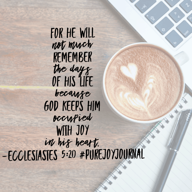 What would it look like to live this Tuesday as if I am occupied with God's joy in my heart? #purejoyjournal #simplytuesday #biblereadingplan