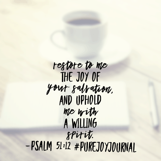 David, the writer of today's #purejoyjournal #biblereadingplan passage, asks God to cleanse him from sin. But he didn't just request forgiveness. David missed the closeness of his God. He longed for full restoration, especially the pure joy he had before he chose to commit adultery and murder.
