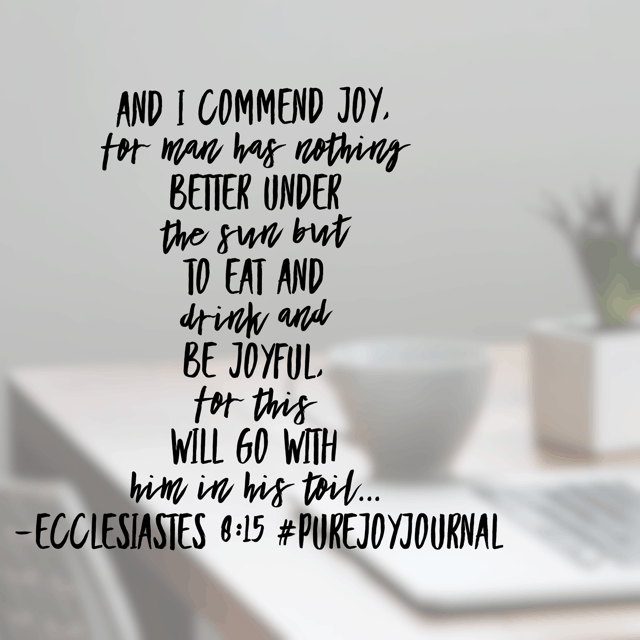The preacher of Ecclesiastes gives his best recommendations for living life. As he explains that he doesn't understand it all, he says what he does know— that choosing joy is vital. I'm working to make that choice a priority on this Monday! Join me?