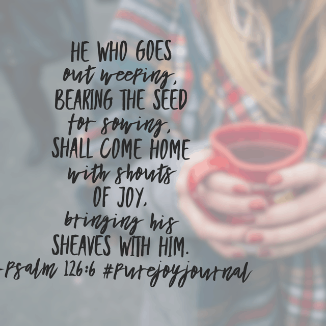 Sowing is hard work and often yields tears. Oh, but when we push on, through the strength of the Lord, we find joy on the other side. Whatever your act of planting seeds consists of today, visualize the harvest. It is going to be beautiful!! #purejoyjournal #biblereadingplan