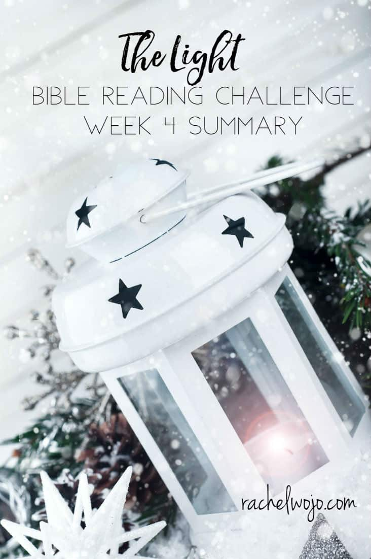 You did it! Here we are at the Light Bible reading challenge summary week 4! Together, our community completed our 12th Bible monthly Bible reading plan for 2017. Way to go! If this is your first time here, I always take a look back at the previous week of reading to summarize and solidify it in our minds.