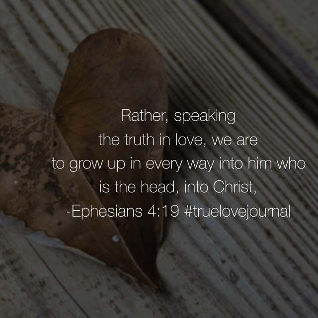 "I find myself on repeat with my children and then I hear my husband advise them as well. ""Be the mature one."" I think that's the short form of what Paul was saying to the church at Ephesus. Meditating on our #truelovejournal #biblereadingplan this Wednesday. Make it a great day!"