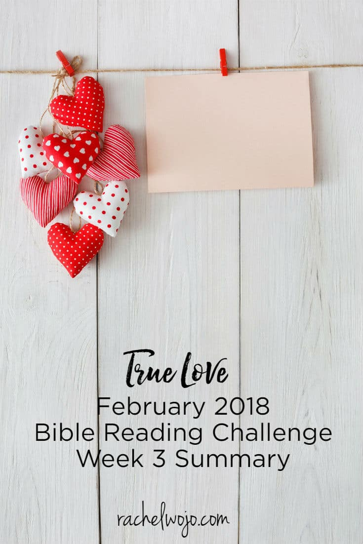 Welcome to the February 2018 Bible reading challenge week 3 summary! Can you believe that we are already three weeks into this month's True Love Bible reading plan? Last week as I grieved and rejoiced over the homegoing of Billy Graham, the daily Scripture reading on God's love encouraged me all the more. Why do I post a weekly review? So we can remember and refresh our minds in God's Word. Ready?