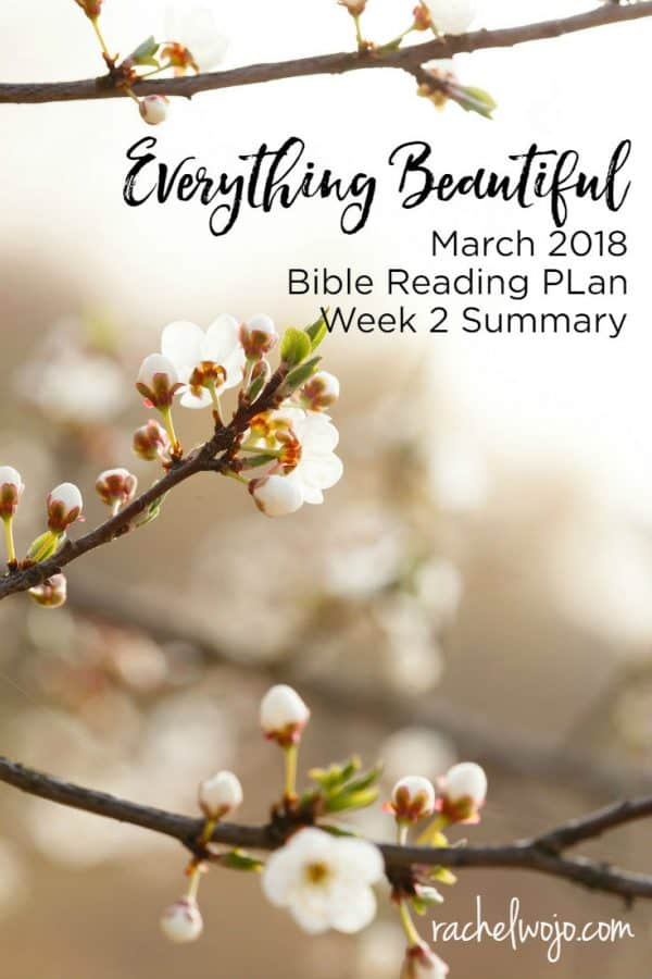 March 2018 Bible Reading Plan Summary Week 2