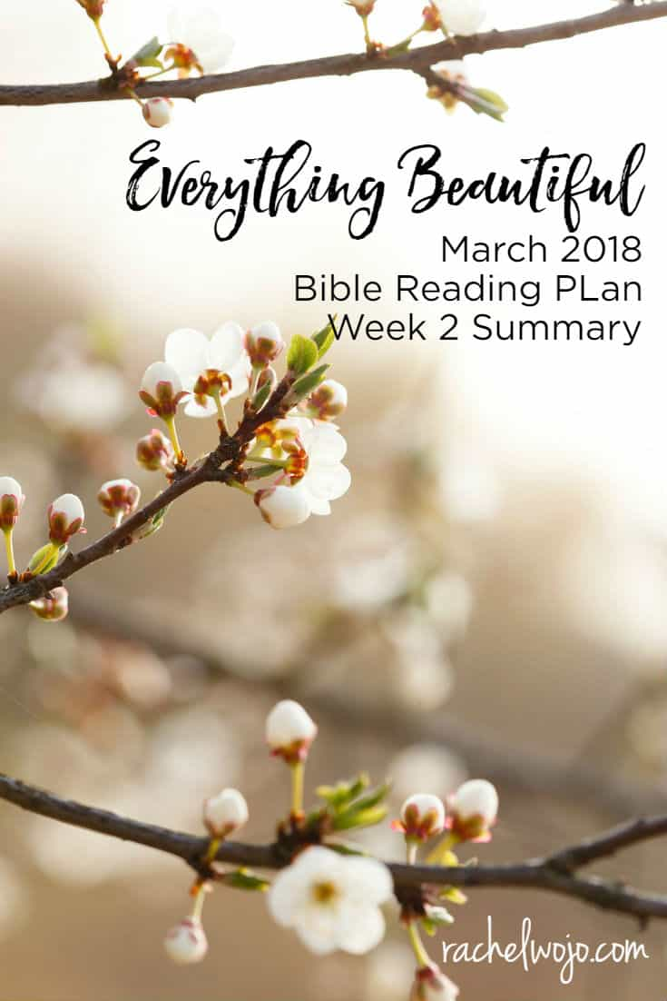 Welcome to the March 2018 Bible Reading Plan Summary Week 2! I pray that you are enjoying the seasonal grace of God in your everyday moments! I know I say this every month, but time is flying by. I can hardly believe that we have already read halfway through this month's plan! In a month when winter seems to be dragging along for me, this Bible reading plan has been exactly what I've needed to focus on God's beauty in his season.