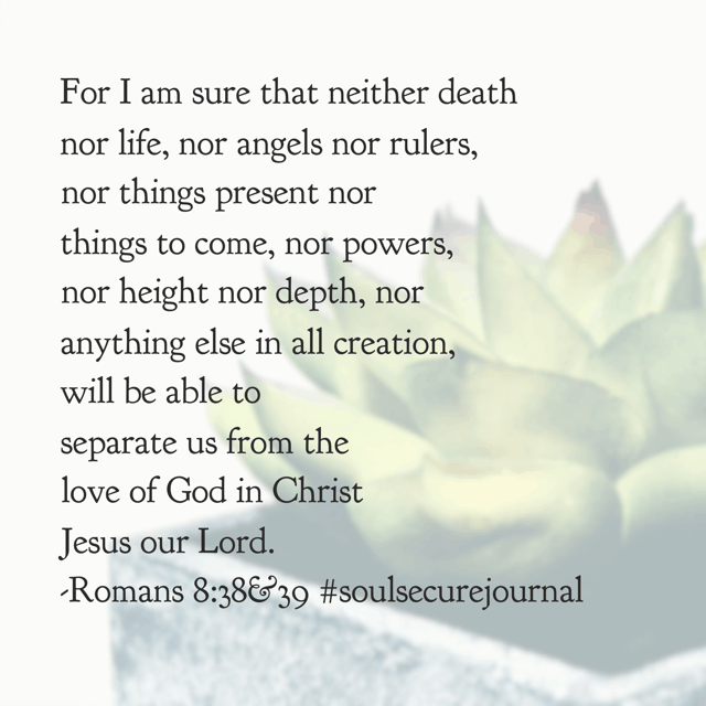 Nothing can separate us from our Savior's love. Not one thing. So grateful. Hope your Friday is filled with faith in place of doubt, love in place of fear, and victory in place of worry! #soulsecurejournal #biblereadingplan Psalm 17:1-8