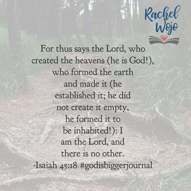 If you feel tempted to feel alone, spinning out of control, or without strength, then know that the Creator has never left his creation. Every detail is in His Power and He works all things for good. #godisbiggerjournal#biblereadingplan