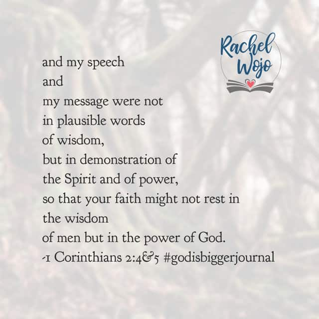 I've never been one for big speeches. I've always enjoyed messages from the heart the most. So when I read Paul's words in our #godisbiggerjournal#biblereadingplan this morning, I affirmed him.