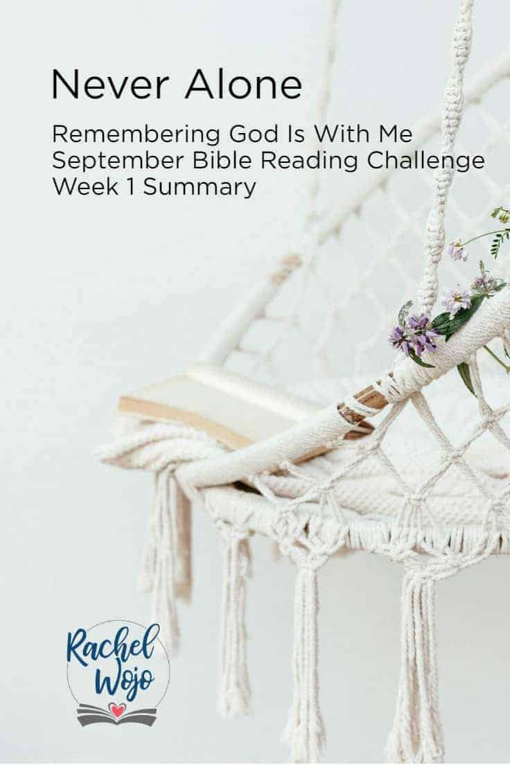 Welcome to the Never Alone Bible reading challenge week 1 summary! This month's Bible reading plan is focused on remembering that God is always with us. If this is your first time here, I'm thrilled that you would stop by. Each month I host a Bible reading challenge and each week, I post a review of the key verses we read in the plan during the week. Let's glance back so we can retain...