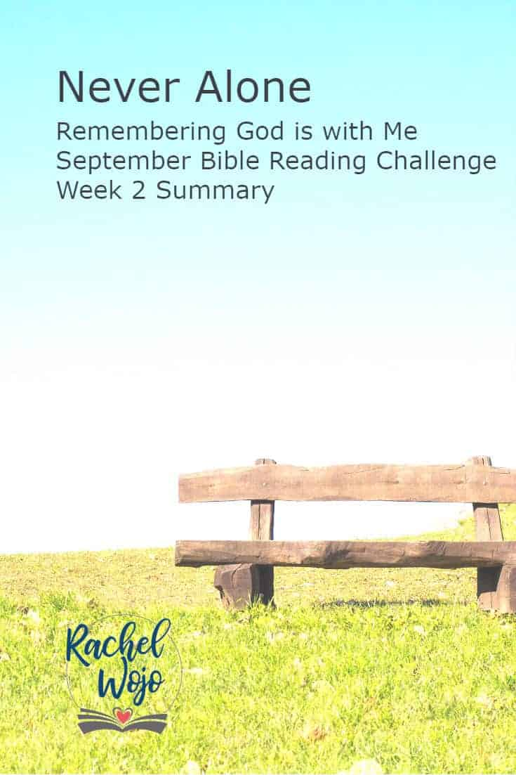 Welcome to the Never Alone Bible reading challenge week 2 summary! Can you believe that we are halfway through this month's reading plan? Wow! If this is your first time here, welcome! Each month I host a Bible reading challenge to encourage you to spend time with God daily and grow your personal faith in Him. Each week our community of readers takes a glance back at the previous week of passages so that we can retain the concepts we are learning together. So here we go!
