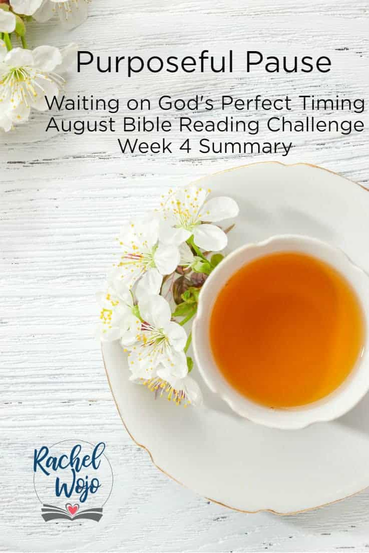 What a beautiful month of Bible reading on the topic of waiting on God! Today's conclusion is the Purposeful Pause Week 4 Bible reading summary. If this is your first time here, each month, I host a monthly Bible reading challenge and each week we take a look back at the previous week of Bible verses.  I pray that this month's plan and journal has been the Lord's perfect timing for you. Let's review...