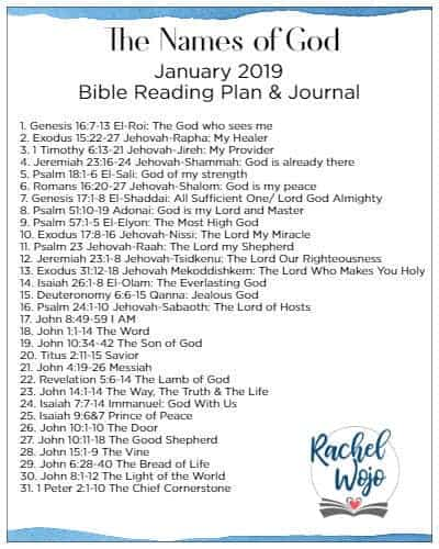 photo relating to Free Printable Names of God identify January 2019 Bible Reading through Application -