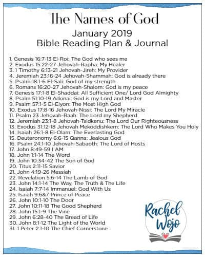 graphic regarding Free Printable Names of God identify January 2019 Bible Looking at Software -
